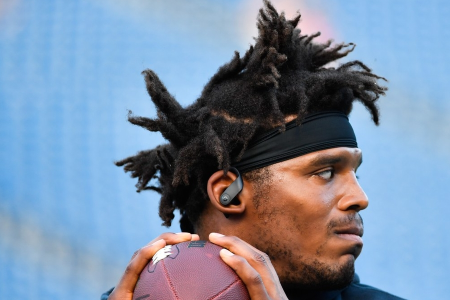Cam Newton Laughs In The Face Of Helmet Hair