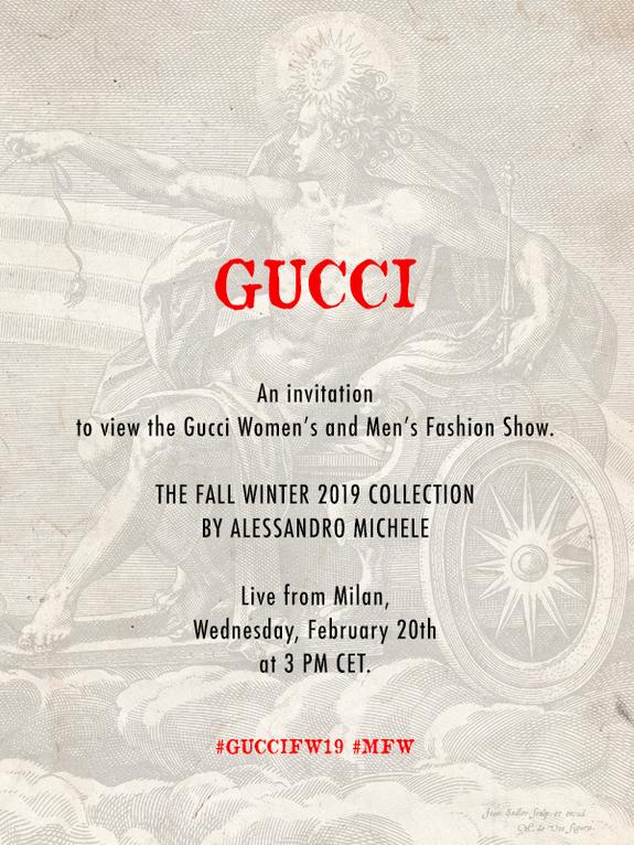 Gucci Fall/Winter '19 Livestream Invite
