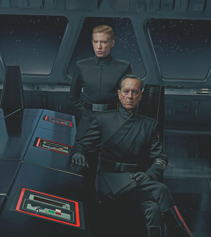 First Order leaders General Hux (Domhnall Gleeson) and Allegiant General Pryde (Richard E. Grant) on the bridge of Kylo Ren's destroyer