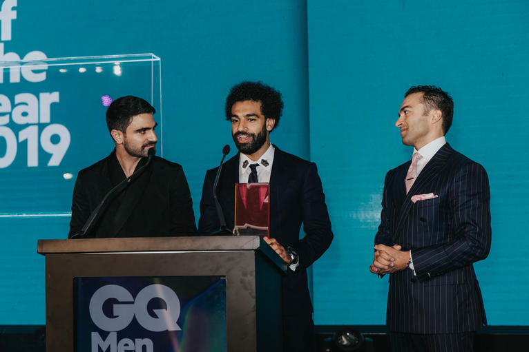 Mo Salah accepts the GQ Middle East Man of the Year award